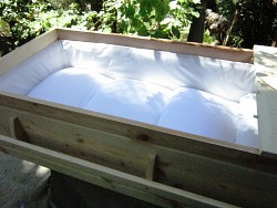 Pine casket - viewing lid off