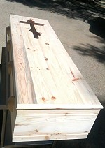 Pine casket with 3-bar cross - viewing lid on